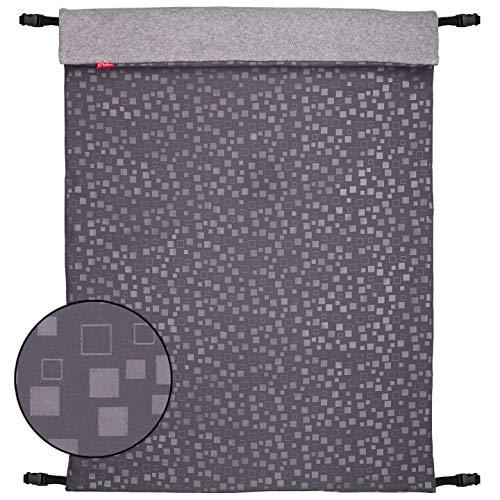 ByBoom - Softshell Decke 70x100 cm Thermo Aktiv; Funktions-/Universal-/Outdoor-Babydecke für Kinderwagen, Buggy, Jogger, Farbe:Grau Mosaik/Grau Melange