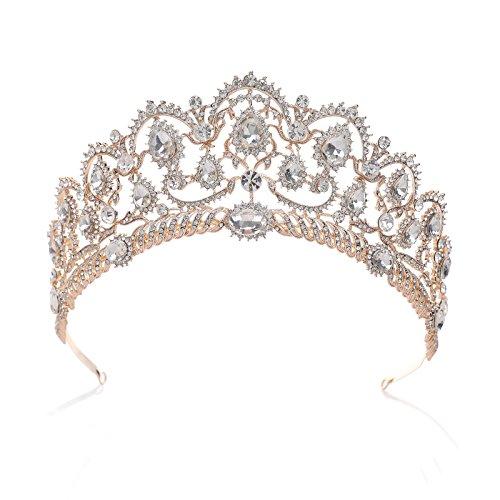 SWEETV Luxus Prinzessin Diadem Hochzeit Krone Braut Tiara mit Kristalle für Festzug Prom, Roségold