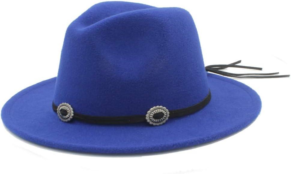 L.W.SUSL Men Women Authentic Winter Wool Fedora Hat Pop Panama Jazz Hat Wide Brim Fascinator Church Hat (Color : Blue, Size : 56-58)