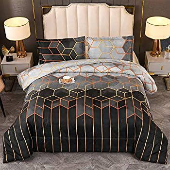 Sisher Grey Geometric Comforter Set Queen Bedding Set Black Marble Soft Microfiber Quilts with 2 Pillowcases All Season Comforter for Man/Woman 228x228cm