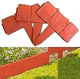 CDblue Bordure de Jardin en Plastique Imitation Pierre Palissade Flexible pour Paysage de Jardin de Bricolage, Pelouse, Décoration de Jardin (Rouge)