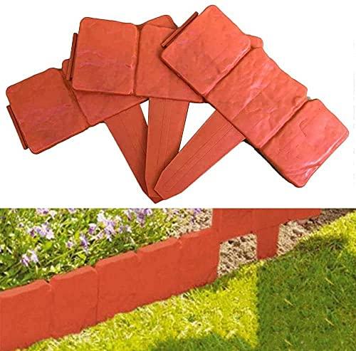 CDblue Bordi per Giardini Effetto Pietra in Plastica 20PCS 5M Bordi da Giardino Flessibile per Giardino Aiuola Erba 25x23.5cm (Rosso)