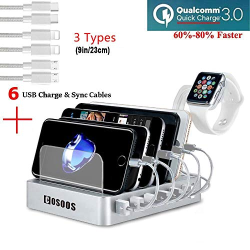 COSOOS Fastest Charging Station with Quick Charge 3.0, 6 Phone Charger Cables(3 Type),lWatch Stand,6-Port USB Charger Station,Charging Station for Multiple Devices,Tablet,Kindle(Silver,UL Certified)