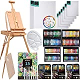 MEEDEN 145 Piece Deluxe Artist Painting Set with French Easel, Art Painting Brushes, Paint Tubes, Painting Pads, Stretched Canvas, Painting Knives for Acrylic, Oil, Watercolor Painting