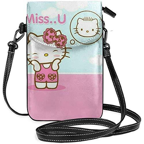 Ahdyr Bolsos cruzados para mujer: cartera pequeña para teléfono celular Miss U Kitty con ranuras para tarjetas de crédito