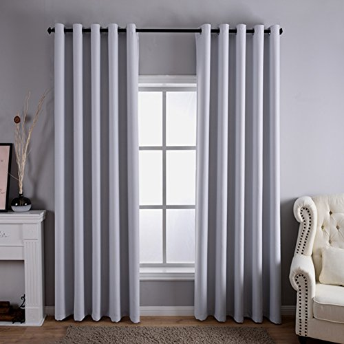 """Dreaming Casa Solid Room Darkening Blackout Curtains for Bedroom Draperies Window Treatment 2 Panels Greyish White Grommet Top 2 100"""" W x 102"""" L"""