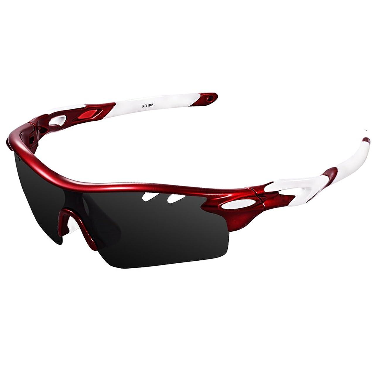 アセ事業そのようなEwin スポーツサングラス 偏光レンズ UV400カット 交換レンズ3枚 軽量 ユニセックス 紫外線防止 登山 ゴルフ 釣り 野球 ランニング レンズ交換可能 偏光サングラスセット