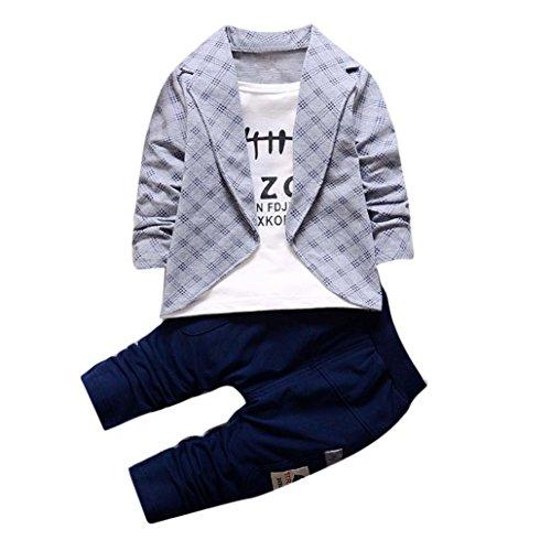 Pour 1-4 Ans Bébé Garçon Ensemble de Vêtements, Tonwalk 1Set Tops de chemise + pantalons longs (2T, Gris)