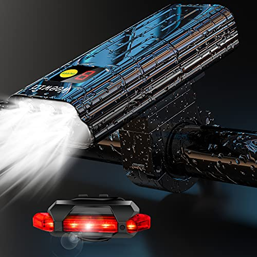 2021 Neueste 7000 Lumen super helle 5 LED Fahrradlichter vorne und hinten, leistungsstarker USB wiederaufladbarer Fahrradscheinwerfer, 10 Modi Laufzeit 18+ Stunden, wasserdichtes Fahrrad-Scheinwerfer-Rücklicht für Radfahren und Bergsport