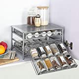 Spice Rack Organizer for Cabinet, 3 Tier 30-Bottle Spice Drawer Storage, Pull Out Sliding Seasoning Shelf for Kitchen Pantry Countertop, Metal,Silver