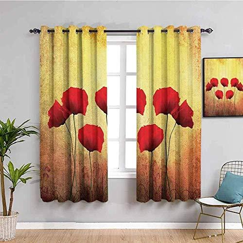 ZLYYH tenda a rullo Vintage rosso pianta fiore WxH:168x138cm(84x138cm x2 pannelli) Tende oscuranti Occhiello Tende oscuranti stampate in 3D con isolamento termico per soggiorno