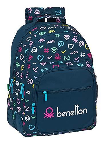 safta Mochila Escolar de Benetton Dot Com, 320x150x420mm, azul marino/multicolor, m (M773)