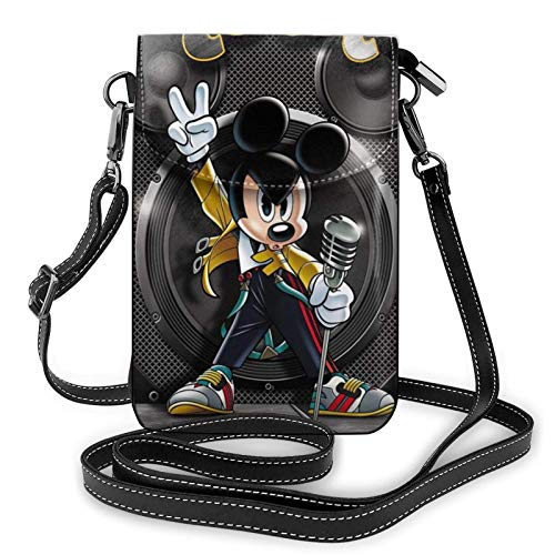 Mickey Mouse Rock Music - Bolsos de hombro ligeros de piel para teléfono móvil, bolsa de viaje, cartera con