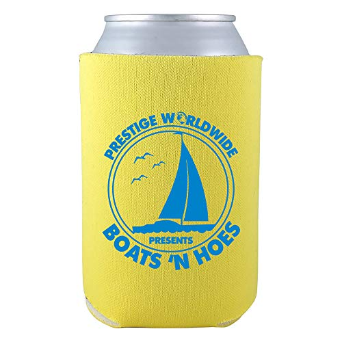 Prestige Worldwide Presents Boats N Hoes Funny Can Cooler Sleeve - OS - Yellow