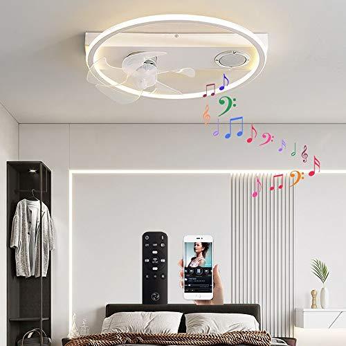 VOMI Moderno Ventilador De Techo con Luz con Mando A Distancia, Plafon con Altavoz LED Lámpara De Techo con Altavoz Bluetooth, App-Invisibles De Mando A Distancia Luces, para Dormitorio, Salón,Blanco