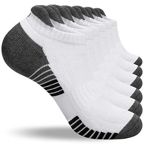 anqier Sneaker Socken Herren Damen Baumwolle Gepolsterte Kurze Sportsocken Rutschfest Running-Socken Low-cut Laufsocken Training Socken (6 Paar)