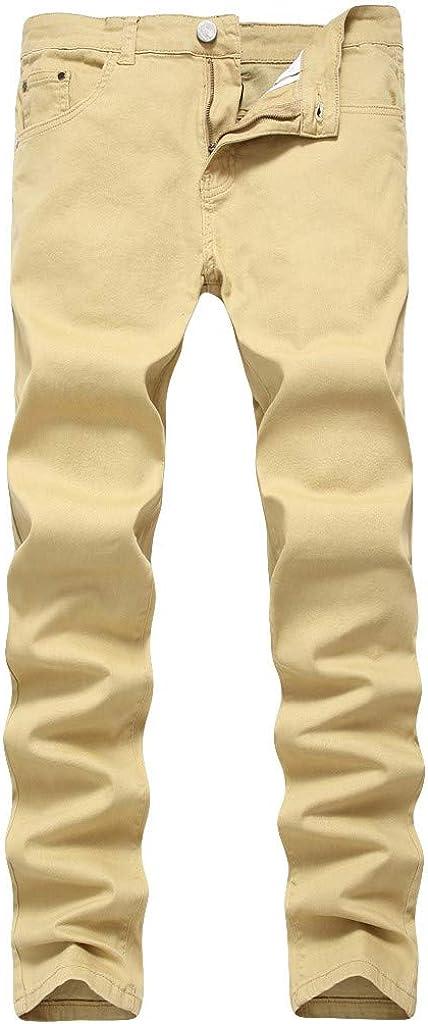 Zainafacai Slim Fit Jeans, Men's Colorful Super Comfy Slim Fit Stretch Straight Leg Denim Jeans Pants