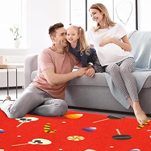 Lindo cráneo Lollipop fondo rojo alfombra de área grande para sala de estar, dormitorio, cocina, antideslizante para el piso interior felpudo lavable a máquina, rectangular de 5 pies x 7 pies