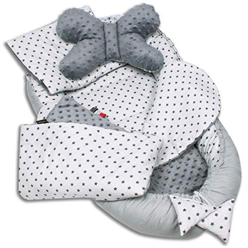 Palulli Babynestchen, 5-teiliges Set, hohe Qualität, 90x50cm, mit Kuscheldecke, Kissen und herausnehmbarer Einlage, Baumwolle, Oeko-Tex-Standard100 Sterne, Grau
