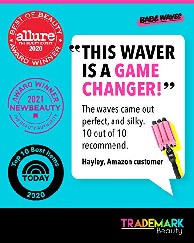 Babe Waves 3 Barrel Curling Iron Hair Waver - 25mm Quick Heat with 1 Inch Ceramic wand - Trademark Beauty Dual Voltage Hair Crimper - Adjustable Temperature Fast Heat Hair Style Tool for All Hair Type