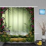 MANISENG Duschvorhang,3D Feen- oder Elfennebelwald, eingerahmt von Steintoren & Blumen,Bad Vorhang waschbar Bad Vorhang Polyester Stoff mit 12 Kunststoffhaken 180x210cm