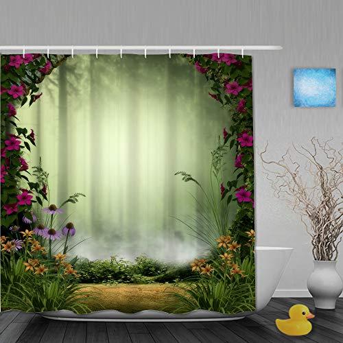 QINCO Duschvorhang,3D Feen- oder Elfennebelwald,eingerahmt von Steintoren & Blumen,personalisierte Deko Badezimmer Vorhang,mit Haken,180 * 210