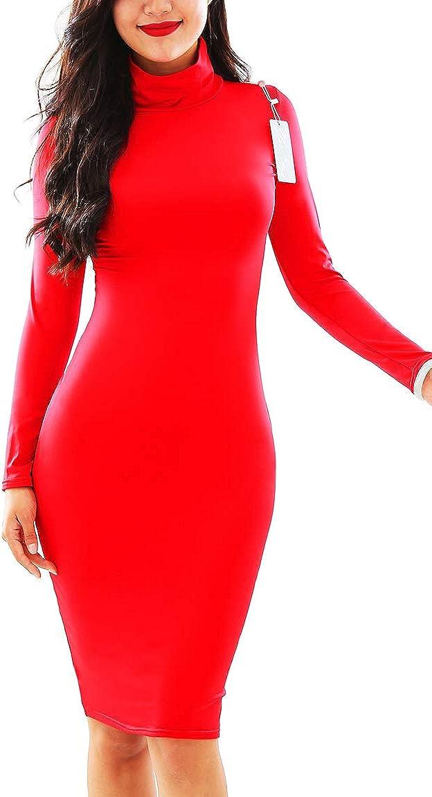 BOFETA Womens Long Sleeve High Neck Bodycon Dress Club Midi Dress
