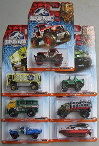 Mattel 2015 Matchbox Jurassic World 7 Car Set! Mint in Package! by