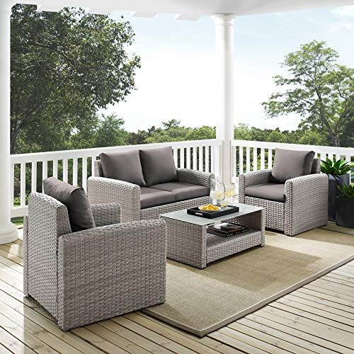 UKN Wicker-Look Upholstered 4-Piece Grey Outdoor Entertaining Set Transitional Tropical Fabric Resin Wicker Removable Cushions Water Resistant