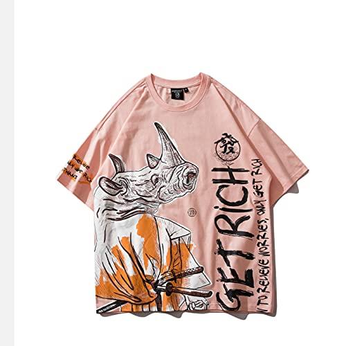WYLYSD Camiseta De Anime Harajuku, Camiseta De Pareja, Ropa De Calle De Gran Tamaño, Estampado De Dibujos Animados De Algodón, Cuello Redondo, Manga Corta para Hombres Y Mujeres