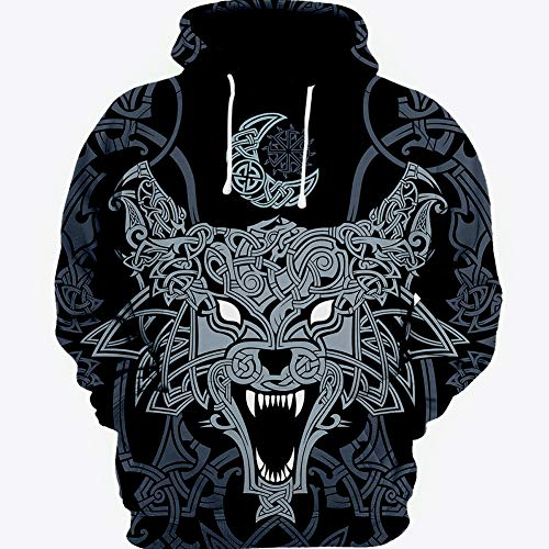LRKZ Hombres Vikings Wolf Tattoo Norse Mythology 3D Print Zip Up Hoodie Pullover Personalizado Goth Sudadera mullida Contraste Color Fashion Cozy Coat,Thin Hoodie,XL
