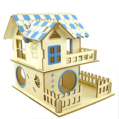 Yurika 木製おもちゃ ハムスター ハウス 家小屋2階建て DIY ドールハウス 遊具?キット ハムスターケージ 3D立体別荘 組立式ドールハウス ベッド 豪華 遊び巣 運動不足解消 小動物ハウス ペット 遊び場(タイプ1)
