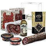 GOURMET BOX | Cesta Gourmet Regalo con Productos Ibéricos Delicatessen | Salchichon Iberico, Picos Artesanos y Aceite de Oliva Virgen Extra | Cesta de Navidad