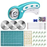 133 Pcs Rotary Cutter Set - BONROB 45mm Cutter Kit with A3 Cutting Mat, 3 Replacement Blad...