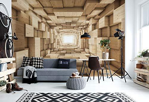 3D-Holz-Tunnel Optische Täuschung Vlies Fototapete Fotomural - Wandbild - Tapete - 368cm x 254cm / 4 Teilig - Gedrückt auf 130gsm Vlies - 3247V8-3D