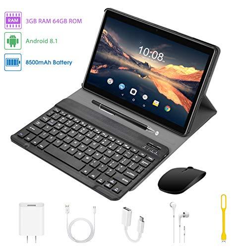 4G Tablet 10.1 Pollici con Wifi Offerte Tablet PC Offerte Android 8.1 Quad Core 3GB RAM 64GB ROM/Fino a 128GB 8000mAh DUODUOGO P6 Doppia Fotocamera 8MP 5MP 1280*800 Dual SIM BT GPS OTG (P6 - Nero)