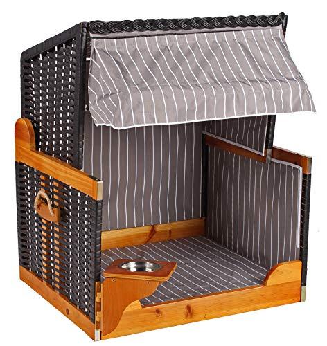 Mr. Deko Hundestrandkorb PE schwarz Dessin grau gestreift ohne Schutzhülle für Garten, Terrassen, Wohnzimmer, Strandkörbe, Hundekorb,...