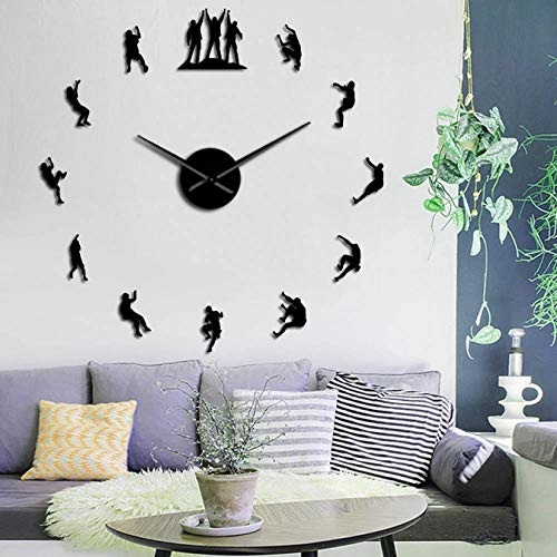 tyjsb Escaladores 3D DIY Reloj de Pared sin Marco Mute Reloj Grande Decoraciones para Apartamentos Espejo Pegatinas de Pared Escalada Regalo para amantes-27inch
