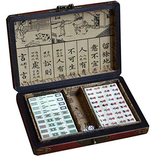 Mahjong Antikes Mini Chinesisches Mahjong Set mit Holzetui Travel Family Mahjong für Mah Jong im chinesischen Stil (Farbe, Größe: 1,6 x 1,2 x 0,8 cm)