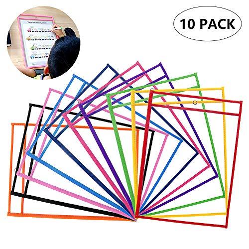 ZWOOS 10 Piezas Resuable Dry Erase Pockets Papelería Suministros, Oficina, para la Organización en el Aula y Colegio, Guardería, Ludoteca (Colores Surtidos), 35.5×25.5 cm