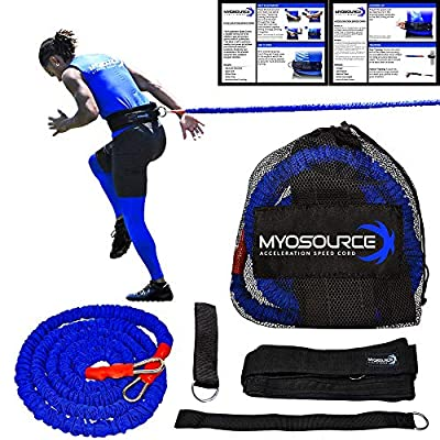 Acceleration Speed Cord Bungee Multi-Sport Resistance Training - Improve Strength, Power, Agility – 3 Belt Sizes (S, M, L) Available - Comfort, Efficiency – Kinetic Bands (Large 40+ inch Waist)
