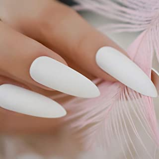 Classic Pure White Matte Stiletto Frosted False Fake Nail Tips Extra Long Pointed Artificial Manicure Press On Wear Nails L5020
