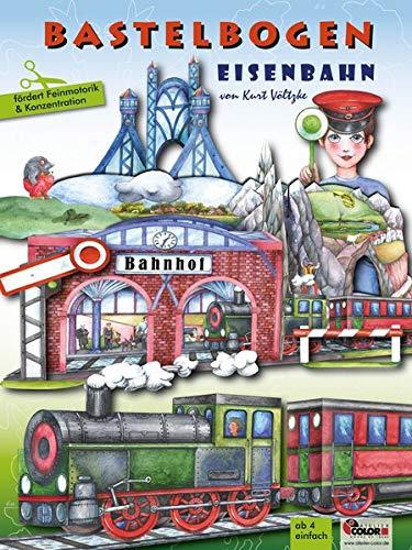 Atelier Color Eisenbahn Bastelbogen: 3D bespielbarer Bahnhof, Brücke, Zug zum Ausschneiden und Basteln