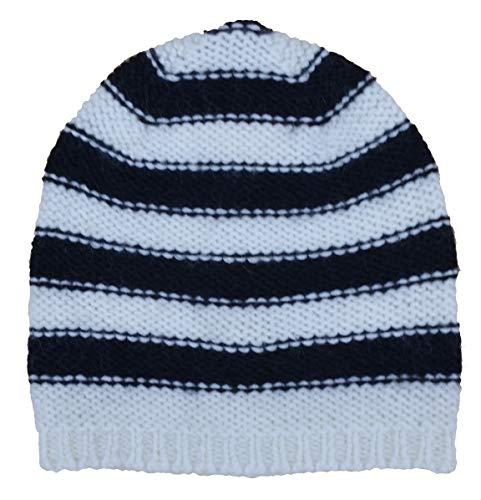 Liebeskind Berlin gebreide muts Chunky Knit Stripes One Size Zwart Porselein Wit gestreept