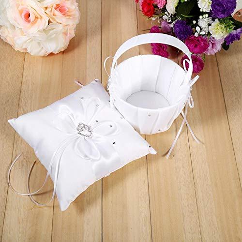 Emoshayoga Canasta de Boda con Flores para niñas, decoración para Ceremonia(White (Flower Basket + Ring Pillow))