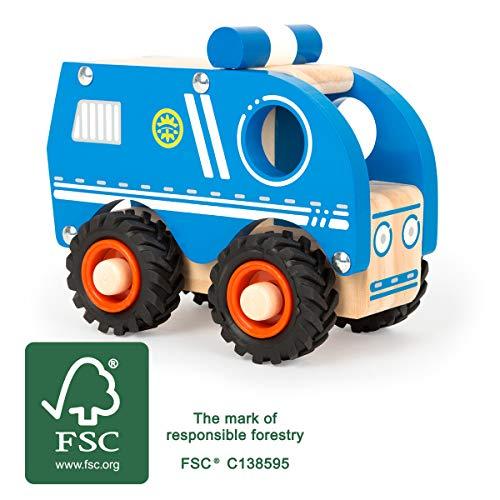 Small Foot-11077 Voiture de Police en Bois certifiée 100% FSC, Convient également pour Jouer à l'extérieur, pour Les Enfants Jouets, 11077, Bleu