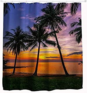 Goodbath Beach Shower Curtain, Ocean Seascape Tropical Palm Tree Sunset Bathroom Decor Waterproof Fabric Bathroom Curtains, 72x72 Inch Dark Green Orange Blue Purple