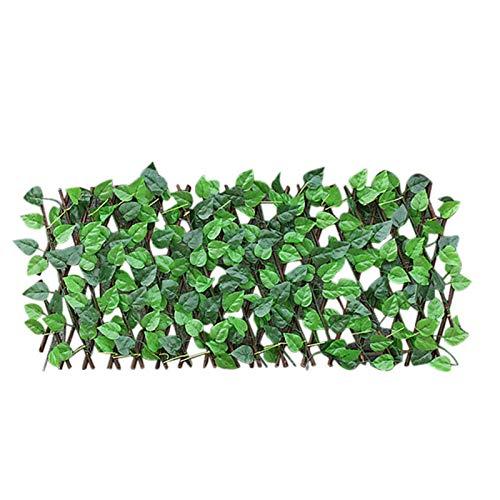 Xuanshengjia Erweiterbare Holzgitter Einziehbarer Zaun, Langlebiges Künstliches Blatt Faux Ivy Sichtschutz Zaun Gitter, Gartenpflanze Zaun Dekoration Ständer Für Hinterhof Dekor Grünwände (40 / 70CM)