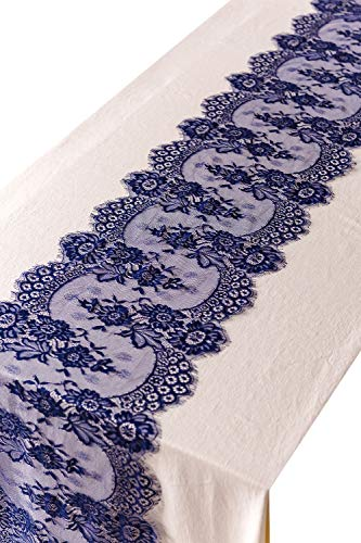 crisky 14' x 120' Navy Blue Lace Table Runners Lace Overlay with Rose Vintage Embroidered, Thin, Rustic Romantic Wedding Decor, Bridal Baby Girl Shower Decoration