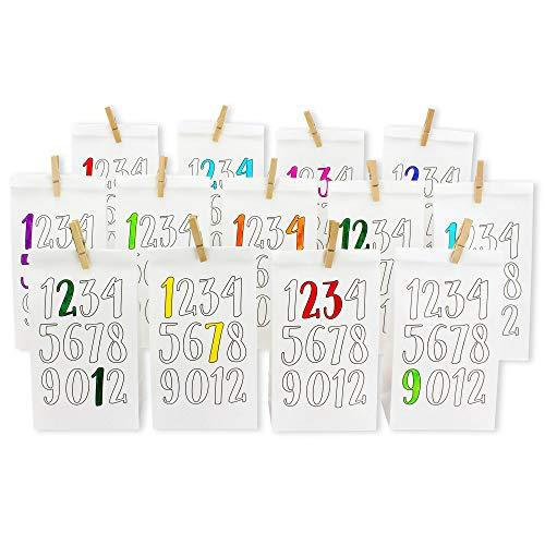 Papieren drachen DIY adventskalender kraftpapier set – haak om in te kleuren – met 24 bruine bedrukte papieren zakken om in te kleuren en zelf te vullen – Kerstmis 2018 Cijfers wit - om in te kleuren